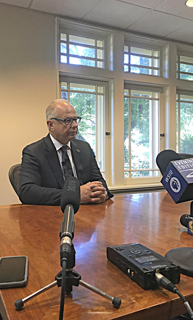 SIU-C Chancellor Carlo Montemagno, At Anthony Hall,  Speaks With Members Of The Media After His State Of The University Address.  Photograph Taken September 26th, 2017.