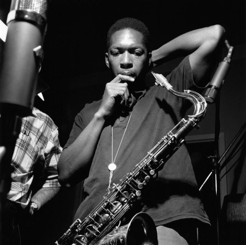 "John Coltrane during the recording of ""Blue Train."""
