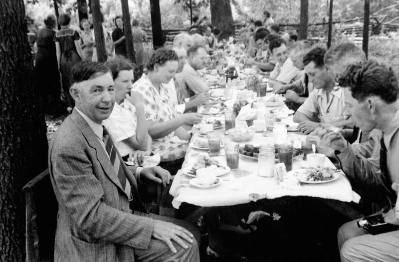 Colonel Trigg, seated at table, lower left, at one of the Ozark Tours.