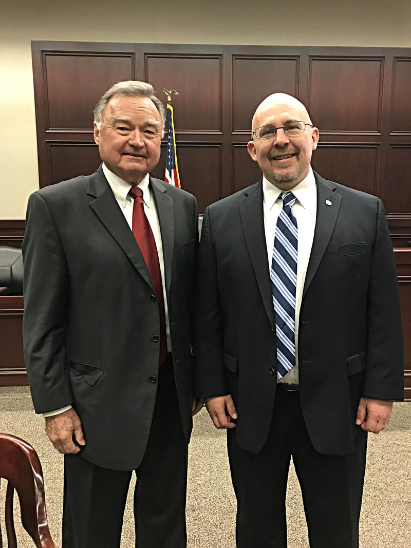 Acting Dean of the SIU School Of Law Christopher Behan, RIGHT, and Chief Justice of the Illinois Supreme Court Lloyd Karmeier At The SIU School of Law.  Photo taken Tuesday November 9th, 2017.