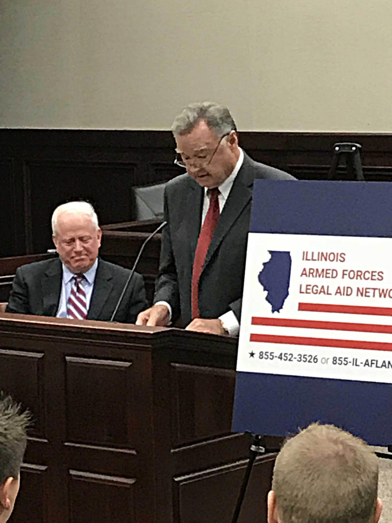 Chief Justice of the Illinois Supreme Court Lloyd Karmeier, RIGHT, and former Fourth Judicial Circuit Judge Ron Spears Launch the Illinois Armed Forces Legal Aid Network on Tuesday November 9th, 2017.  Photo taken Tuesday November 9th, 2017.