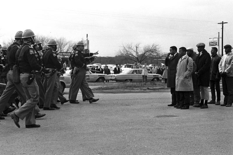Hosea Williams and John Lewis confront troopers on Bloody Sunday, in Selma, Montgomery in 1965