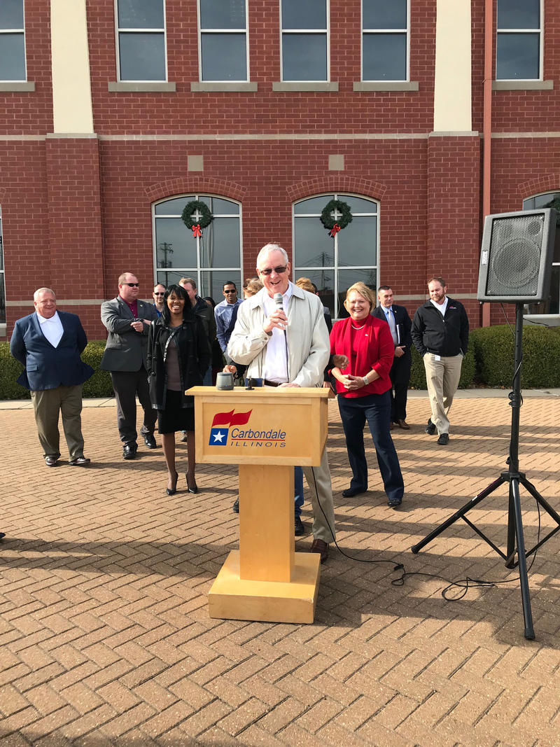 Carbondale Mayor Mike Henry Speaks Before Raising The Bicentennial Flag.  Photograph Taken Monday December 4th, 2017.