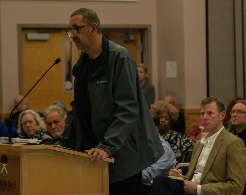 Rodney Morris of Carbondale speaking at the special City Council meeting concerning whether to approve or deny Brightfield, a solar company, a special-use permit in Carbondale, Illinois on November 5, 2018.