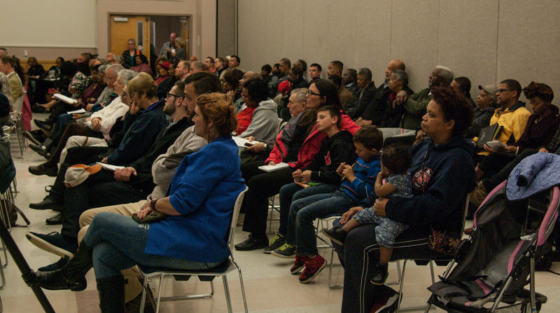 Local residents attending a special City Council meeting in Carbondale, Illinois on November 5, 2018