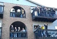 Students take part in Polar Bear drinking party in Carbondale January 2012.
