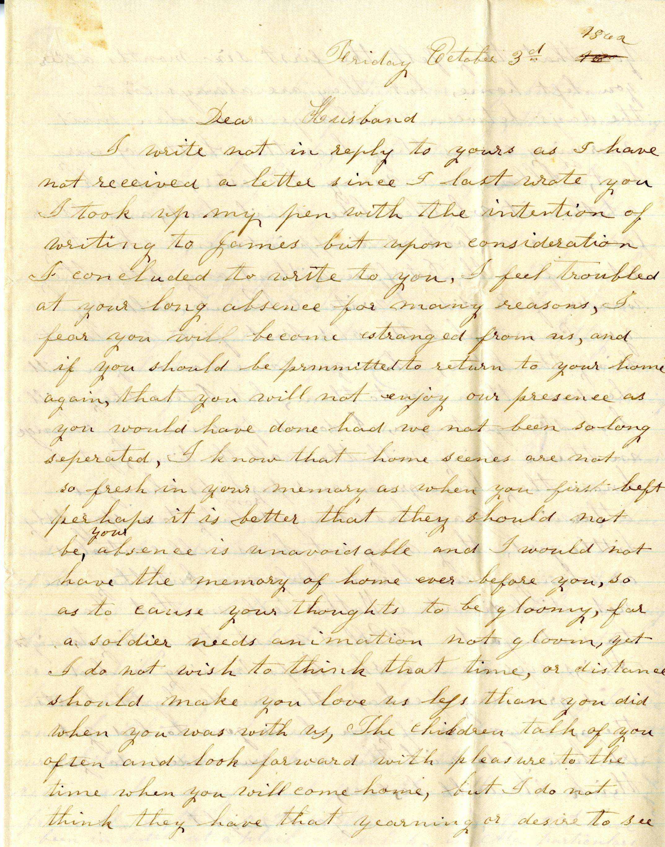 A Civil War Era Letter Written By Southern Illinois Woman To Her Husband While He Was Serving In The