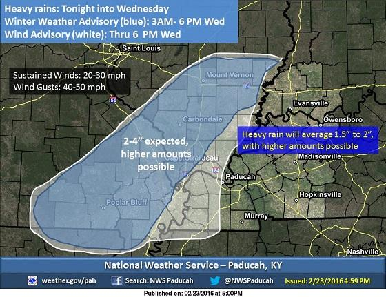 Winter storm warning issued for area