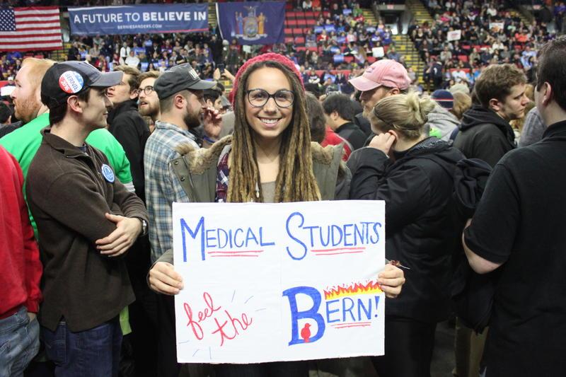 Medical student Kayla Jagoda showed her support for Bernie Sanders during his visit to Binghamton on Monday.