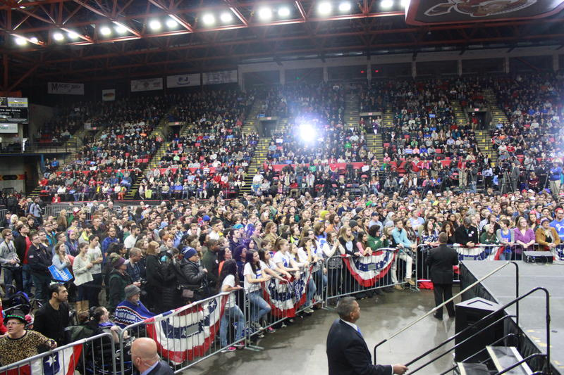 View of the crowd surrounding Sanders at the Floyd Maines Arena.