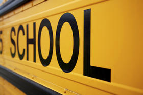 close-up picture of side of a school bus