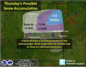 Snowfall is possible for much of the northern part of the state starting Wednesday night.