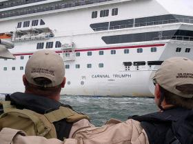 After three months in Mobile the disabled Carnival Triumph is headed back out to sea.