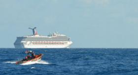 The cruise ship Carnival Triumph in the Gulf of Mexico on February 11, 2013.