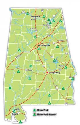 A map of the state parks and resorts in Alabama.