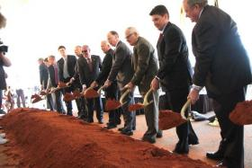 Alabama Gov. Robert Bentley and Baldwin County officials break ground for an interchange that will tie Interstate 10 with the Foley Beach Express.