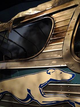 A recreation of the Greyhound Bus firebombed during the Freedom Rider Campaign at the National Civil Rights Museum.
