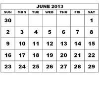 calendar showing month of June 2013