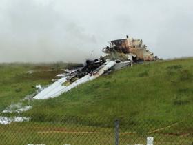 Wreckage from Wednesday morning's UPS cargo plane crash just outside of Birmingham-Shuttlesworth Airport.