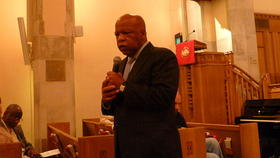 Rep. John Lewis of Georgia was among the members of Congress honoring four black girls at the Alabama church today where they died in a Ku Klux Klan bombing 50 years ago.