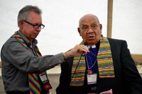 A retired United Methodist bishop has performed a wedding ceremony for two gay men in Alabama despite opposition from other church leaders.