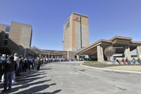 People wait in line to get into the new Wind Creek Casino in Wetumpka which opened Tuesday,