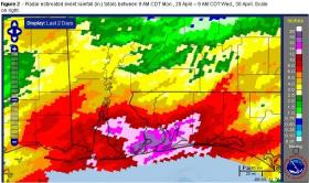 Some of the heaviest totals of Tuesday and Wednesday rains ranged from 22 inches to 26 inches over Perdido Bay, Wolf Bay, Foley and Orange Beach, based on radar estimates.