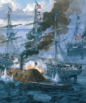 Confederate ironclad CSS Tennessee engages the USS Oneida while under fire from the USS Chickasaw (Painting by Tom Freeman www.tomfreemanart.com)