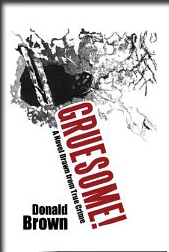 Black and white graphic art showing bullet wound with book title written in red
