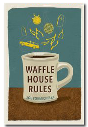 Drawing of an ivory coffee cup on wooden table with blue background with title written in brown on the cup.  In place of steam, yellow drawings of things such as cars, wishbones and clocks hang in the air.