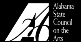 Black and white logo for the Alabama State Council on the Arts