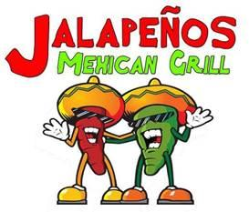 Red and green logo for Jalepenos Mexican Grill featuring two cartoon drawn jalepenos wearing sombreros and sunglasses