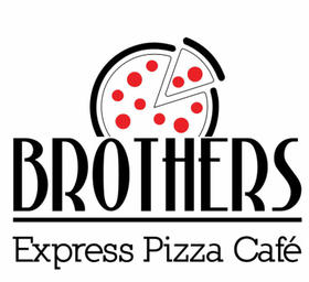 black white and red logo for Brothers Express Pizza Cafe