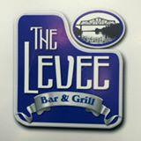 Blue, white and silver logo for The Levee Bar and Grill