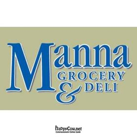 Tan, blue and white logo for Manna Grocery