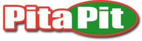 Green, white and red logo for Pita Pit deli