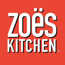 Red and white logo for Zoe's Kitchen