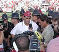 Coach Shula is interviewed on national television after his first win