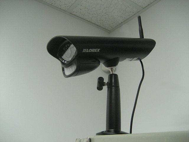 black indoor surveillance camera