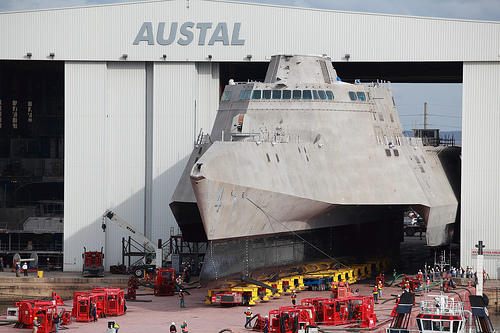 PCU Coronado is rolled-out at the Austal USA assembly bay in Mobile.