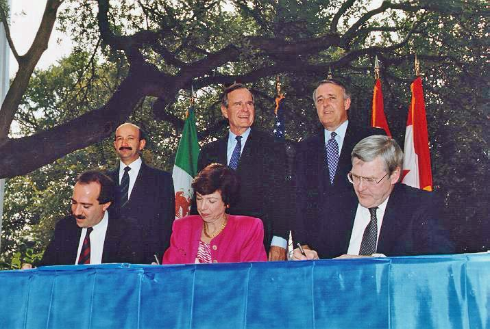 The NAFTA Initialing Ceremony from October 1992 with then President George H.W. Bush.