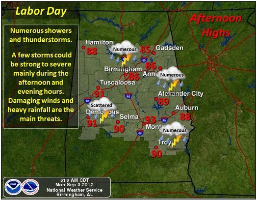 Forecasters say remnants of Hurricane Isaac could pose threat of severe weather for Central Alabama.