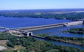 The Wilson Dam on the Tennessee River in Alabama.