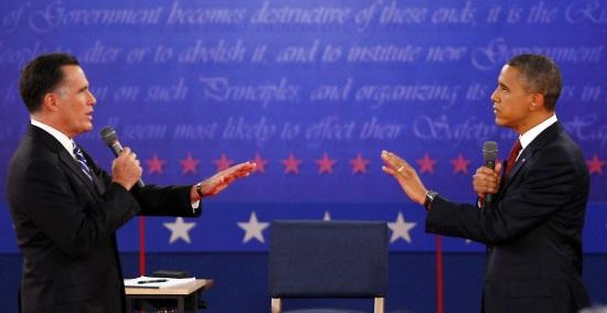 Governor Mitt Romney and President Barack Obama during the October 16th debate at Hofstra University in Hempstead, NY
