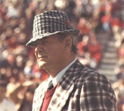 "Paul ""Bear"" Bryant with his signature houndstooth hat."