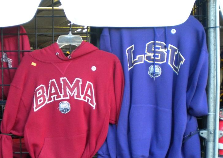Alabama and LSU souvenirs side by side in New Orleans for the 2012 BCS college football title game