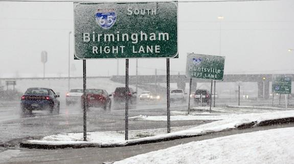 Motorists were stuck in Cullman County on I-65 because of snow and ice.