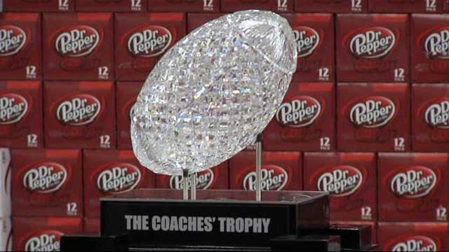 The BCS Coaches' Trophy was on display a Wal-Mart and Academy stores in the state.