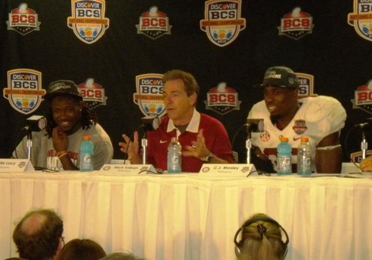 Alabama Coach Nick Saban, and players Eddy Lacy and C.J. Mosely talk with the press about the Tide's victory over Notre Dame in the BCS title game in Miami