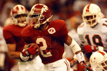 Alabama football player David Palmer during the 1993 Sugar Bowl against Miami to decide the football championship